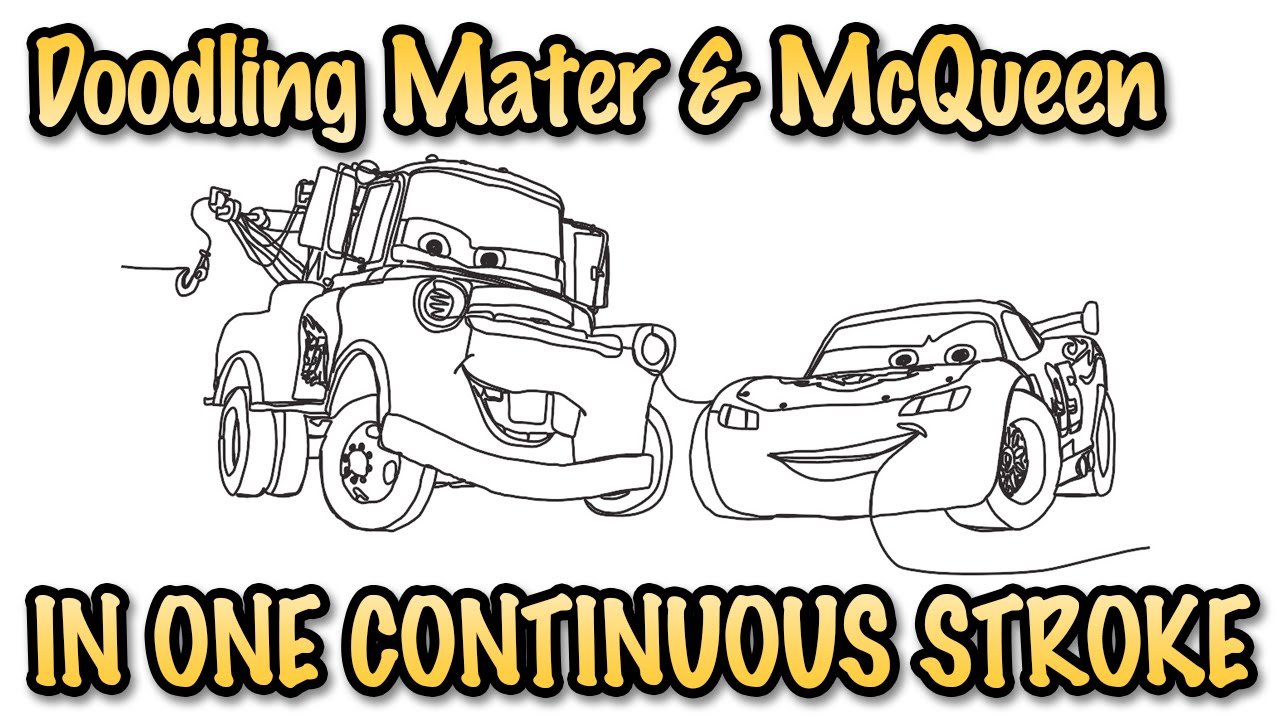 Lightning Mcqueen And Mater Coloring Pages Doodle In One Stroke