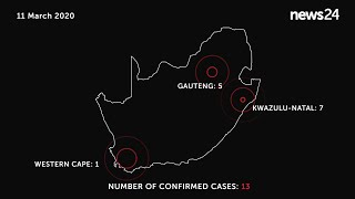 WATCH   11 March: Map showing the latest confirmed number of coronavirus cases in SA