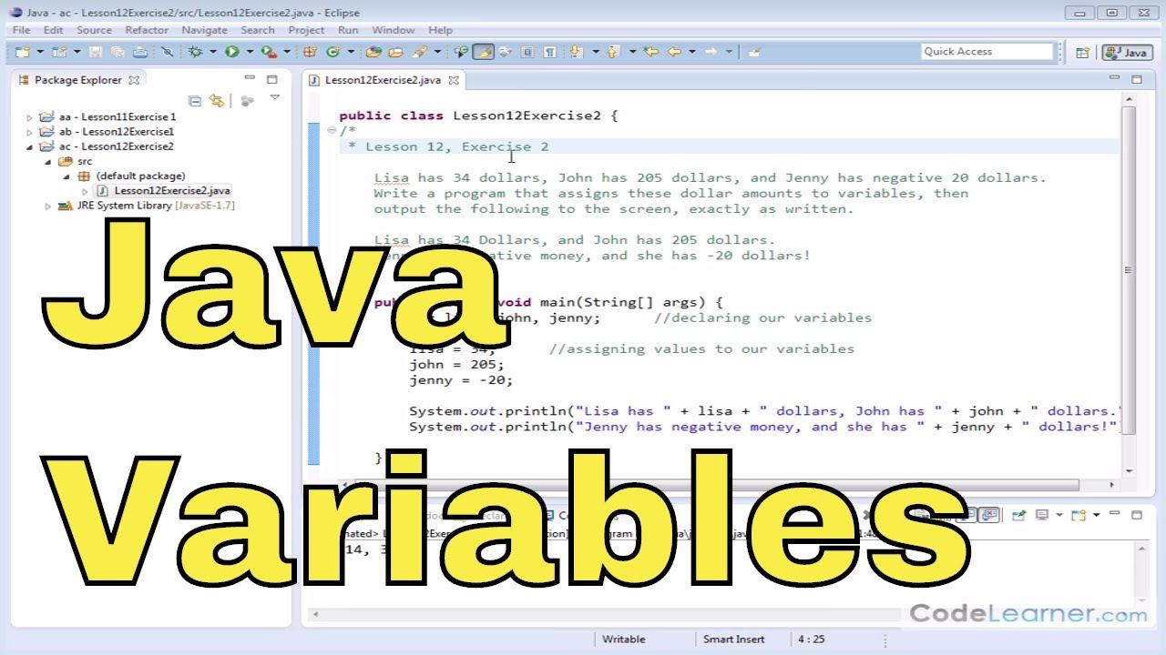 12y - Learn Java - Exercise 2 - Java Variables