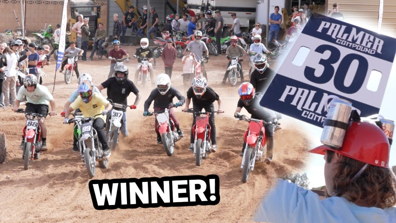 Download MASSIVE PITBIKE RACE AT THE PALMER COMPOUND! FREE DIRT BIKE GIVEAWAY!!