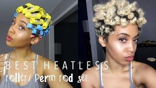 best heatless roller set perm rod set on 4c natural hair