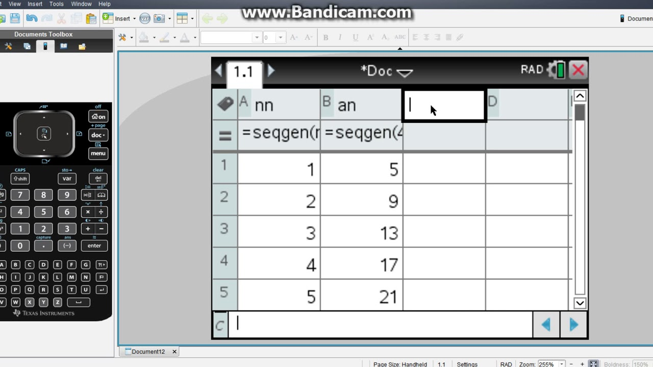 Sequences on the NSpire Using the Sequence Generator