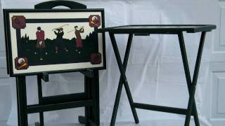 4 Vintage Retro Golf Wood Tv Tray Tables W/ Cart Set
