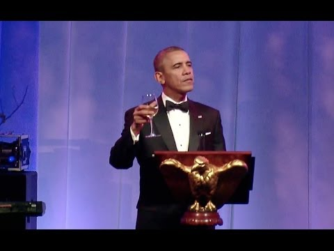 President Obama Toasts President Hollande at the France State Dinner