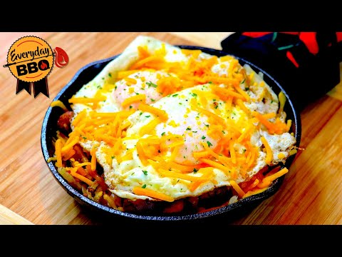 Breakfast Skillet - Blackstone Flat Top Griddle - How To - Sausage Bacon Hash Browns Eggs Cheese