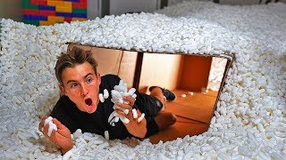 UNDERGROUND PACKING PEANUT BOX FORT! (20,000,000 PEANUTS)