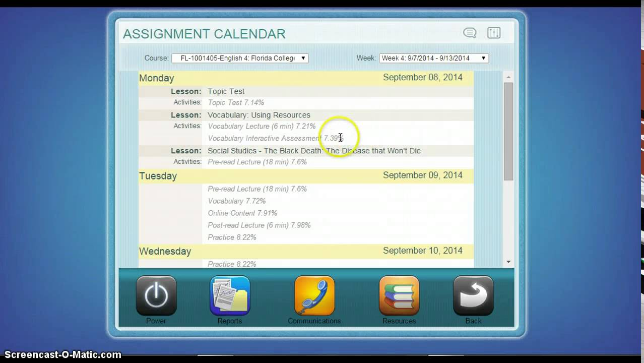 finding the assignment calendar in edgenuity