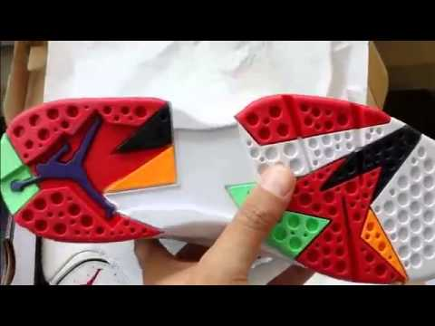 da554707195 2015 Air Jordan 7 Hare 2015 - FAKE vs real - YouTube