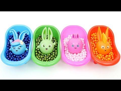 Aprende los colores con los juguetes Sunny Bunnies y la divertida bañera (versión en español)
