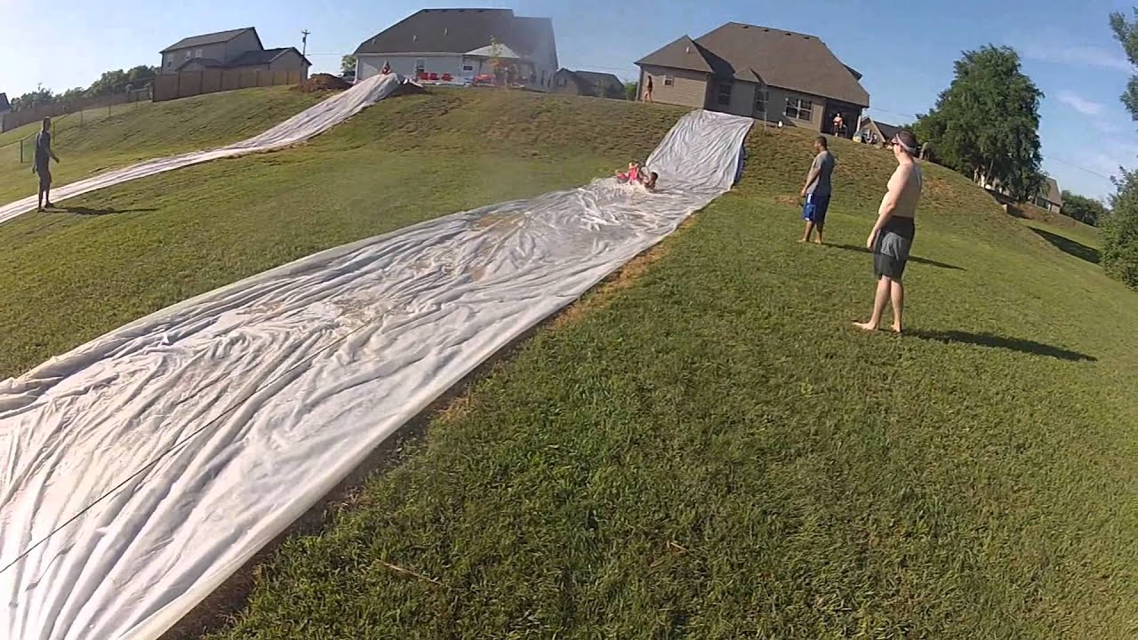 how to make a water slide with a tarp