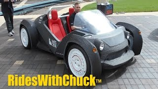Strati first 3D printed car. We go for a short ride! New EV IMTS 2016 in Sept.