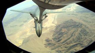 B-1B LANCER Conducts Air-to-air Refueling by KC-135 Stratotanker