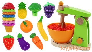 How to Make Icecream Cone Learn Fruit & Vegetables Toy Mixer Microwave Playset Velcro Toys for Kids