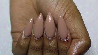 HOW TO: Turn REGULAR Nail Polish into GEL Polish | Nude Stiletto Nails