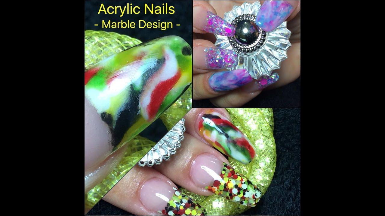 Marble Effect Acrylic Nails | NAILSJAMIEBE - YouTube