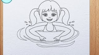 How to draw swimming girl