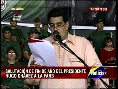 Nicolás Maduro lee salutación de fin de año de Chávez a las Fuerzas Armadas