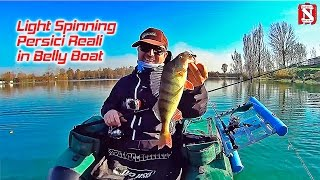 Light Spinning - Pescare Persici Reali in Belly Boat - Fishing Real Big Redfin Perch in Float Tube
