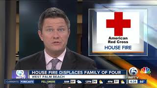 Family of four displaced by West Palm Beach house fire
