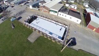 Aerial view of synthetic ice skating rink in Kalona, Iowa