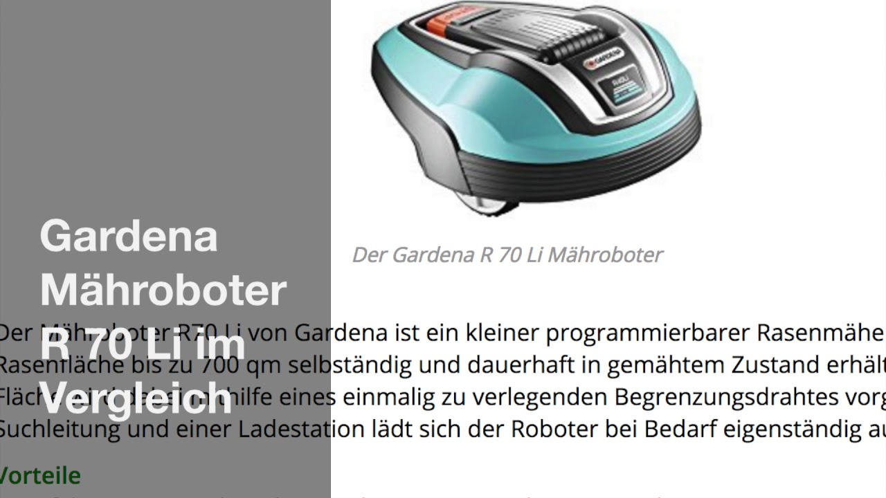 Top Gardena Mähroboter R 70 Li im Vergleich - YouTube @FA_46