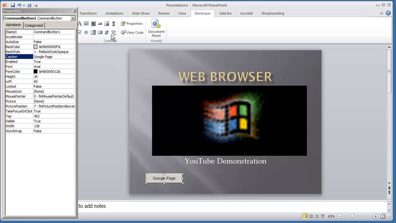 web browser control in microsoft powerpoint 2010 vba