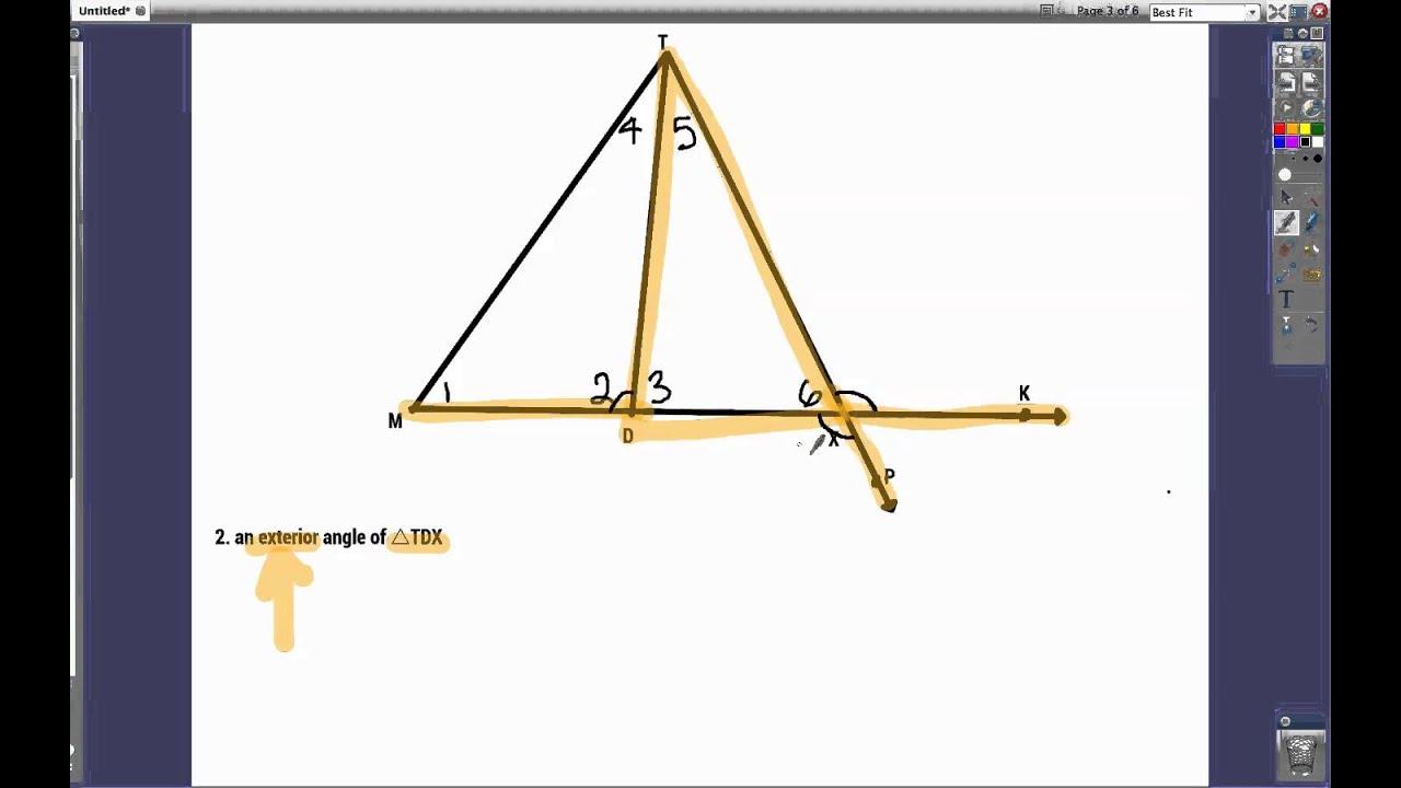 Exterior Math: Exterior And Interior Angles Of Triangles (7.2 Geometry