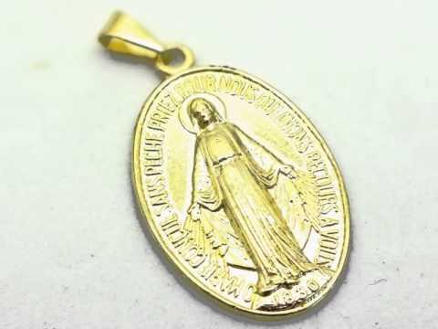 fbece640651e0 Pingente Medalha Nossa Senhora das Graças folheado à Ouro 18k. - YouTube