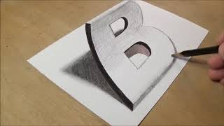 Drawing 3D Letter B   Trick Art on Paper with Graphite Pencils