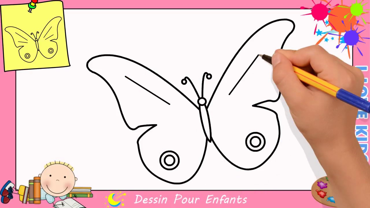 Comment dessiner un papillon facilement etape par etape pour enfants 6 youtube - Comment dessiner un papillon ...