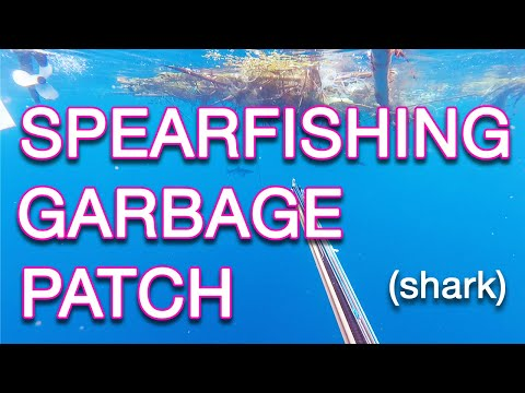 spearfishing under a giant garbage patch off the coast of bali (aggressive shark)