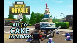 Fortnite BR Birthday 10 Cake Locations - Dance in front of different cakes