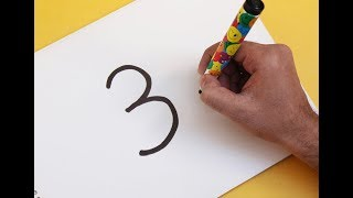 How to turn Number 3 into a Cartoon Christmas SNOWMAN ! Fun with Number Drawing for kids