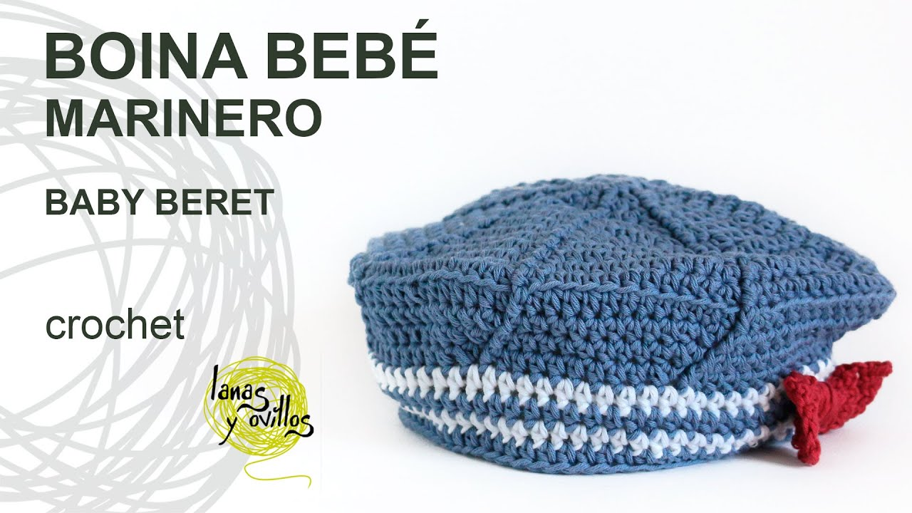 Tutorial Boina Bebé Marinero Crochet o Ganchillo - YouTube