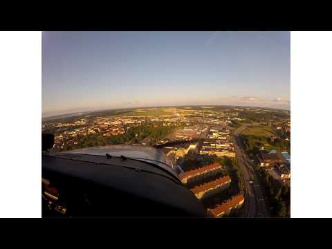 Fantastic view of Norrköping during landing practice
