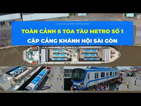 Metro Sài Gòn   TOÀN CẢNH 6 TOA TÀU METRO SỐ 1 hạ tải lên xe siêu trọng ở cảng Khánh Hội Sài Gòn