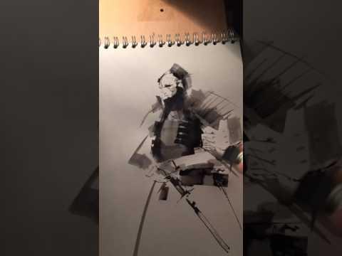 samurai ink wash sketch