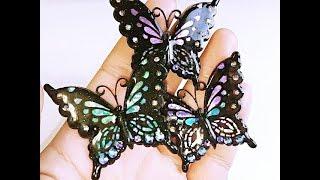 UVレジン セリアの薄型モールドで蝶を作ってみた(*´∇`*)resin またゴム 検索動画 3