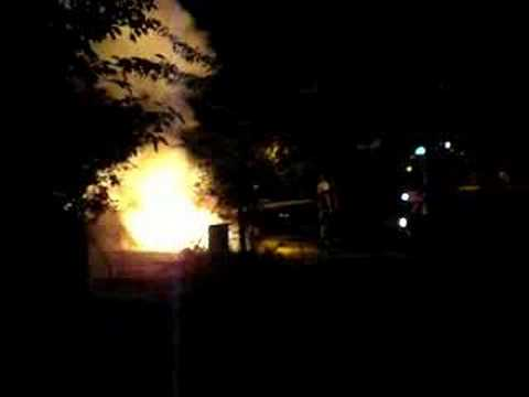 Burning car in Wheatley, Oxfordshire