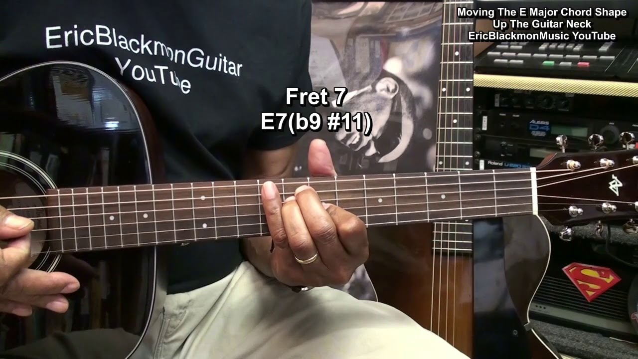 How To Play An E Major Chord Up The Guitar Neck All Chord Names