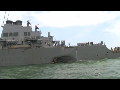 Navy orders probe after destroyer collides with merchant vessel