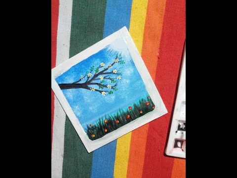 Beautiful scenery//Mini canvas painting//painting in 1 min#shorts