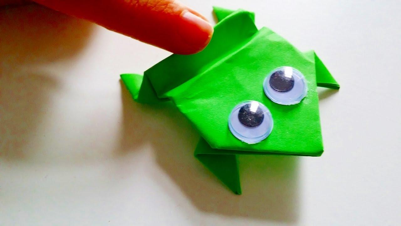 Basteln Hüpfender Origami Frosch Ganz Einfache Bastelanleitung How To Mak A Jumping Frog