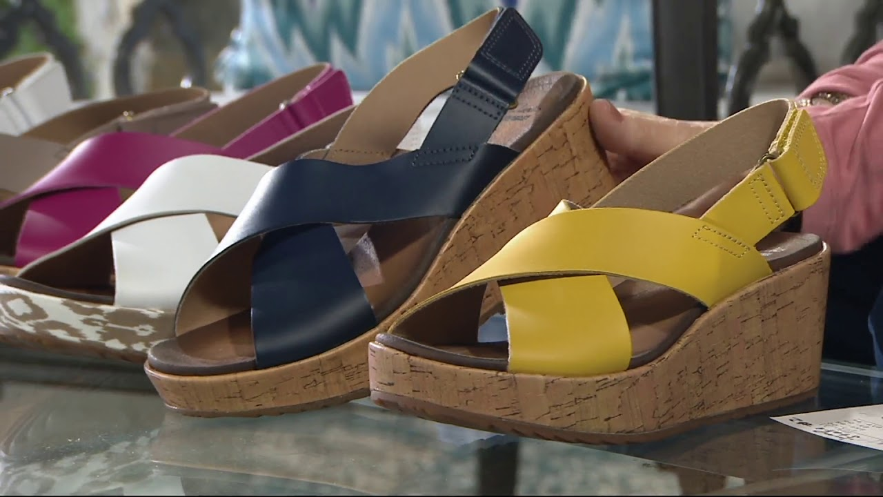 6cd31309100 Clarks Leather Cross Band Wedge Sandals - Stasha Hale on QVC - YouTube