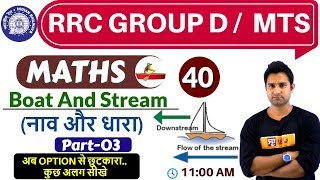 Class- 40 ||#RRC GROUP D /  MTS  || Maths || by Mohit Sir || Boat & Stream