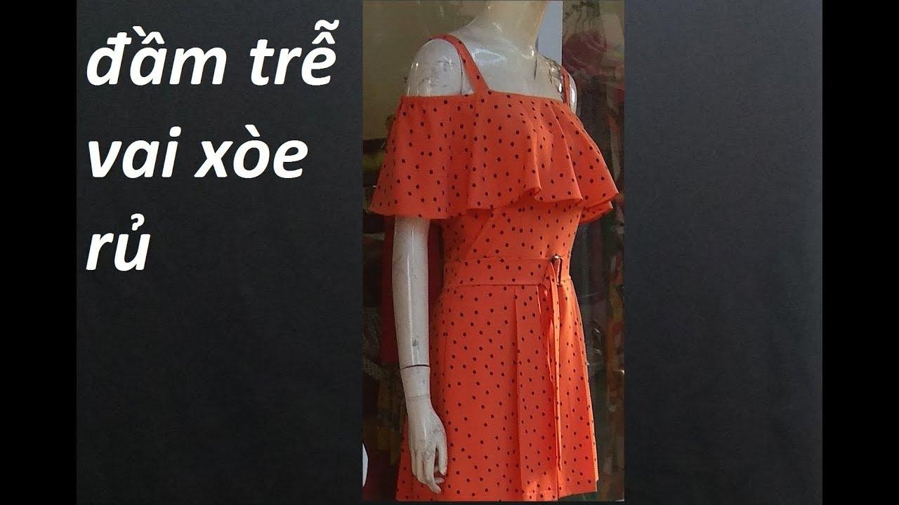 Hướng dẫn cắt đầm trễ vai xòe  rủ 180. How to make women's dress. dạy cắt may online.