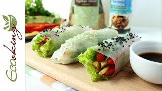 Спринг-роллы / 2 варианта: с сырыми и запеченными овощами / vegan (постный рецепт) / gluten free