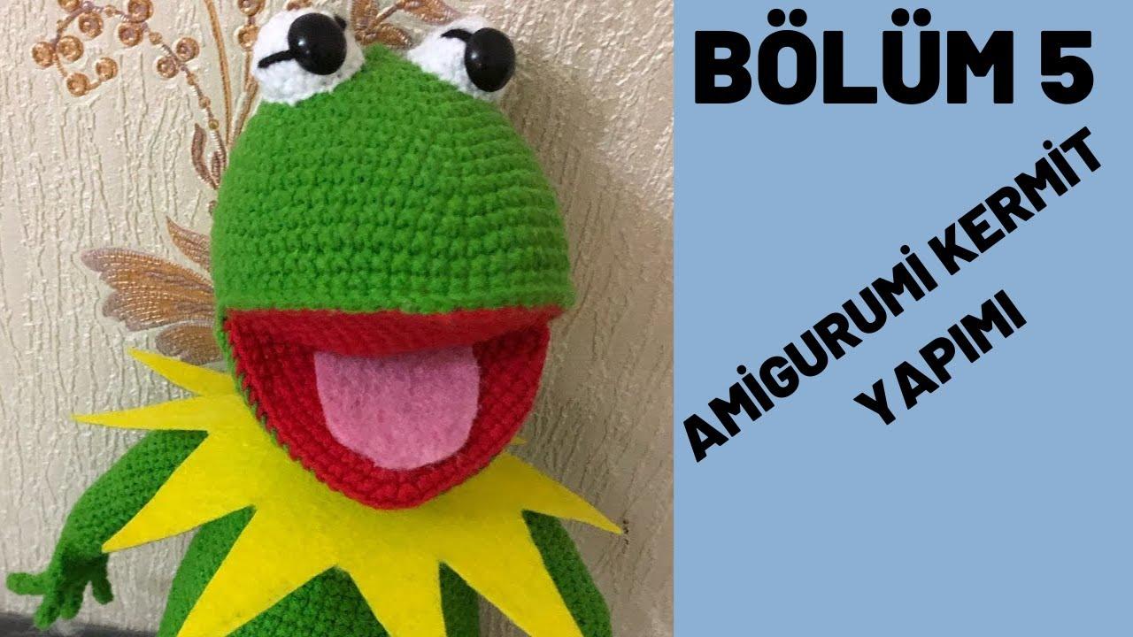 Amigurumi Kurbağa Kermit 5. bölüm kafa yapılışı , ağız eklenmesi ve vücudun birleştirilmesi ( final)
