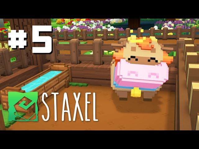 Let's Play Staxel - Ep 5 - Exploring the Extra Large Island & Visiting the Market