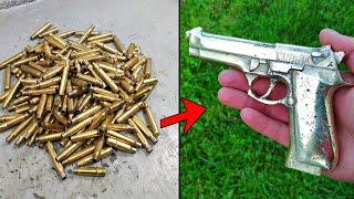Сasting gun - Trash to treasure . Melting cartridge case - ASMR brass casting